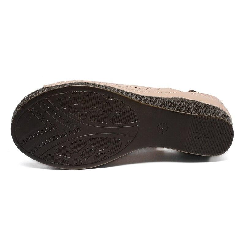 AIMEIGAO 2018 New Summer Platform Heels Sandals Women Open Toe Thick High Heels Shoes Soft Leather Comfort Sandals For Women