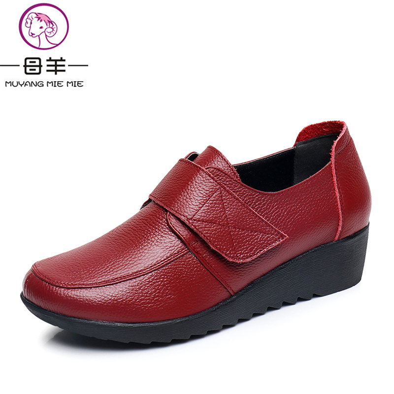 MUYANG MIE MIE Autumn And Winter High Heels Genuine Leather Wedges Shoes Woman Comfortable Pumps Casual Women Shoes<br>