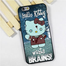 Fit for iPhone 4 4s 5 5s 5c se 6 6s 7 plus ipod touch 4 5 6 back skins phone case cover Hello Kitty Funny Zombie Art