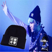 Kpop BTS In Bloom Beanie Hat Bangtan Boys Knit Cap Cute Headwear Winter Cotton Skullies Chinese Words Embroidery Black Cool caps