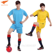 Football Jerseys Custom Soccer Training Suit Clothes Set Men Soccer Quick Dry Polyester Shorts Sleeve Sports Clothing Wear 2017(China)