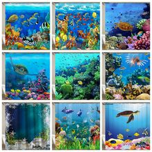 Miracille Sea Turtle Waterproof Shower Curtain Octopus Home Bathroom Curtains with Hooks Polyester Fabric Bath Curtain(China)