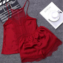 2017New Women Sleeping Wear Summer Sexy Pajama Sets Lace Trim Satin Spaghetti Strap Cami Top and Shorts Pajama Set(China)