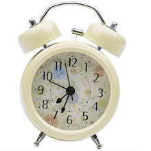 alarm clock Portable Vintage Classic Silent with floral pattern background bedside desk table clock for children office worker(China)