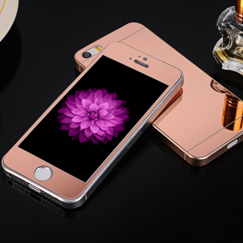 0.3mm 2pcs Front+Back Tempered Glass for iPhone 4 4s 5 5s SE 6 6S Plus Full Cover Mirror Effect Color Protective Film NO LOGO