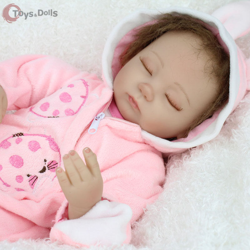 18Handmade Lifelike Baby Girl Doll Silicone Vinyl Reborn newbron dolls 45cm Pink Bunny Dress Baby Doll toys soft girls gift <br><br>Aliexpress