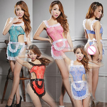 Buy Hot Sale Sexy Lingerie Three Points Sexy Cosplay Transparent Limitation Backless Sexy Maid Apron Room Servant Erotic Lingerie