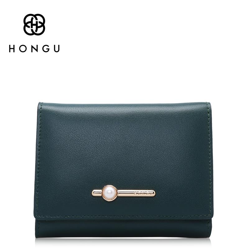 Hongu Women Genuine Leather Short Wallet Wristlet Female Women Wallets Famous brand Ladies Long Clutches Coin Purses Holder<br>