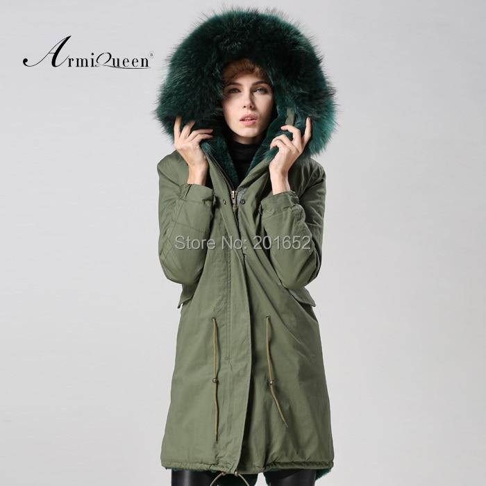 Long Women's 100% high quality faux Fur Coat Jacket With Super raccoon fur Collar factory wholesale