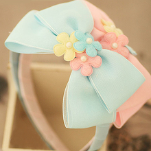 Bright Colour Two Layers Hair Bows With Flowers Headbands Colored Flowers With Pearls Girls Hairbands Kids Hair Accessories