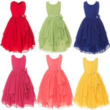 Christmas Red Pink Blue Green Yellow Solid Asymmetrical Chiffon Girls Dress Children's Formal Party Frocks Age 10 11 12 Years(China)