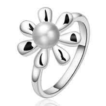 Silver plated rings crystal Rings influx of people Pearl flowers jewelry ring creative minimalist fashion sweet ring R594