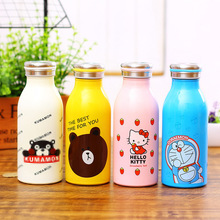 Creative Cartoon Novelty Animals Doraemon Hello Kitty Bear Frog Duck 350ml Stainless Steel Thermoses Cup Hot Water Bottle JC