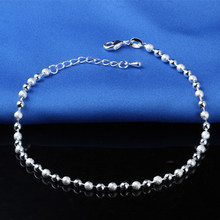Feet Accessories 925 Sterling Ladies Silver Ankle Bracelets Sliver Chain Anklet Bracelet Foot Jewelry bracelet cheville femme(China)