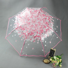 Apollo Princess Umbrella Rain Woman 3 Fold Umbrellas For Kids Sakura Pink Umbrella Small Sunshade Transparent Parasol(China)
