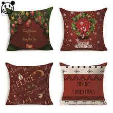 PEIYUAN Christmas Wreaths Reindeer Cotton Linen Woven Square Red and Cushion Cover Pillowcase case factory(China)