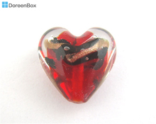 Doreen Box hot-  10PCs Red Glass Foil Heart Beads 19*20mm (B01448)