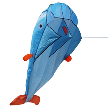 Huge 3D Parafoil Dolphin Kite Kids Outdoor Fun Sport Square Beach Flying Toy Cute Dolphin Kite Easy to Fly 200x73cm