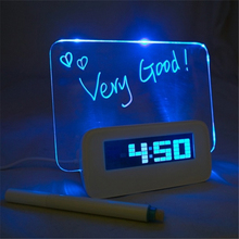 Hot! Blue LED Backlight Digital Alarm Clock Message Board Table Clock Watch Snooze Led Clock reloj despertador with Highlighter(China)