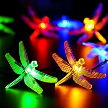 Sanyi 30 LED Solar Christmas Lights 19.7ft 6m 8Modes Solar Dragonfly Fairy String Lights For Wedding Halloween Decoration Lights(China)