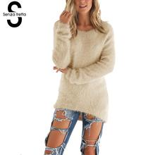 Senza Fretta Sweater Women Winter Cashmere Long Sleeve Loose Cardigan Knitted Sweater Pullover Knitwear Outwear Pull Femme NS620(China)