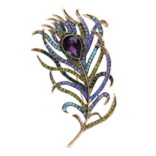 Crystal Peacock Feathers Brooch Boho Enamel Pins Deep Blue 63*107mm Brooches Wedding Accessories 2017 New Arrival