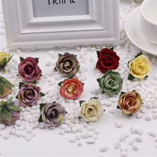 DIY flower false roses artificial silk flower festooned small hair hat flower head material 3cm(China)