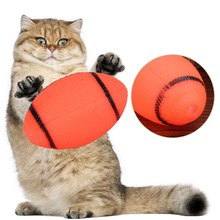 Popular Funny Dog Orange Squeaky Toy For Pet Dog Chew Toy Small Rubber Squeaky Rugby Ball Playing Game