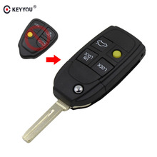 KEYYOU 4 Button Remote Case Flip Key Shell Fit For Refit VOLVO S40 V40 C70 S60 S80