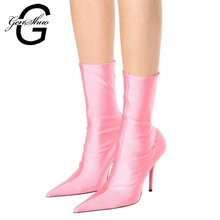 GENSHUO Brand Boots Women 10CM High Heels Mid Calf Boots Polyester Sexy Pointed Toe Slip on Spring Shoes Black Pink Cheap Boots(China)