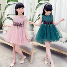 2017 Summer Brand Girls Dresses for Party and Wedding Lace Flower Girl Princess Costume Dress Kids Dress Girls Fashion Clothing(China)