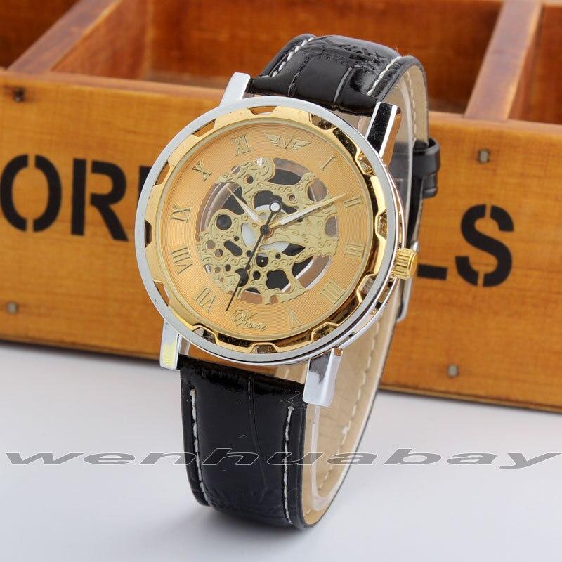 Luxury Skeleton Design Golden Dial Leather Black Band Quartz Wrist Watch Men Women Lady Unisex New Gift Q2729<br><br>Aliexpress