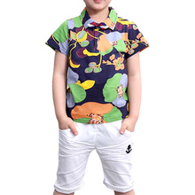 Tem Dog boys clothing sets baby boy flower suit summer fashion cotton shorts sleeve shirts + middle pants 2pcs kids outfits