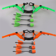 Funny Orange Green Refills Whistle Game Shooting Archery Bow Arrow Set Boys Girls Gift Practice Zing Air Strom Tek Children Toy(China)
