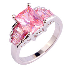 lignmei Wholesale Lady's Fashion Pink CZ AAA Silver Color Ring Size  6 7 8 9 10 Romantic Style Women Jewelry Free Ship 416R8