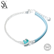 SA SILVERAGE 2017 Women Blue Gemstone Bohemia Bracelets Wedding Heart Fine Jewelry Real 925 Sterling Silver Bracelets for Women