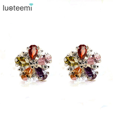 LUOTEEMI AAA+ Multi--Color Zircon Charm Secret Fragrance Flower Stud Earrings Women Tops Fashion Christmas Gift Jewelry