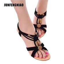 JUNFENGNIAO Sandals Women Female Lady Girl Retro Casual Slip On Gladiator PU Rubber String Bead Flip Flops Spring Summer CS-B-2(China)
