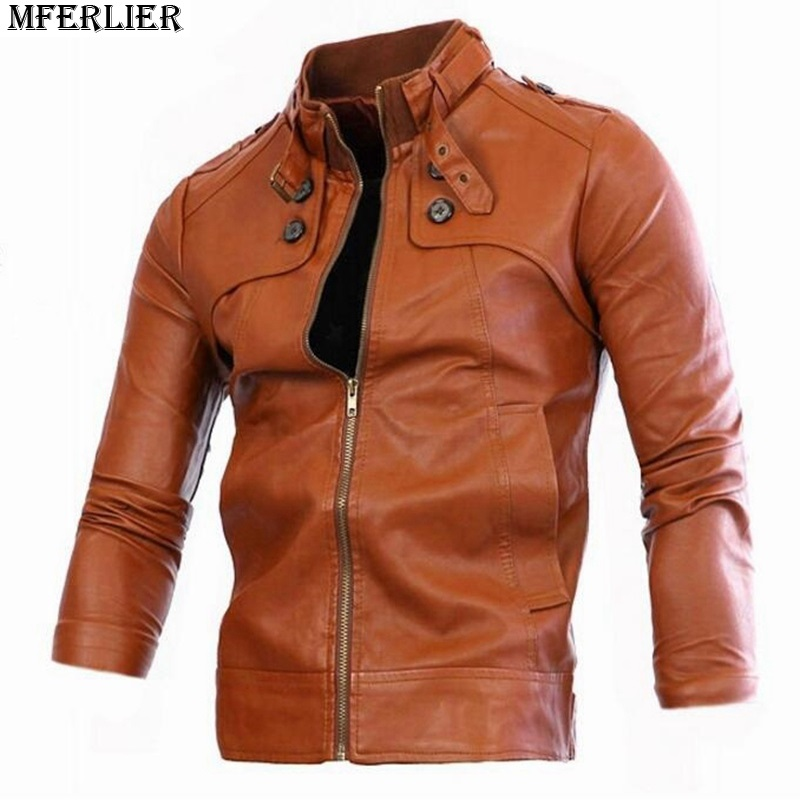 MFERLIER autumn men bomber jackets brown zipper button motociclo Faux Leather street jacket pu pocket black fashion casual coat