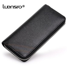 LUENSRO New Fashion Men Wallet Genuine Leather Purse and Wallets for Male Luxury Brand Black Zipper Men Clutches Card Holder(China)