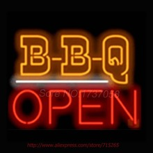 BBQ Open Restaurant Neon Sign Handcrafted Neon Bulbs Real GlassTube Advertise Impact  Club Decorate Store Display Fast 24x20