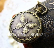 wholesale price good quality girl woman lady vintage retro new bronze butterfly pocket watch necklace with chain