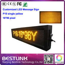 16*96 pixel p10 indoor led single yellow electronic led advertising billboard led display screen taxi top panel de led letreiro