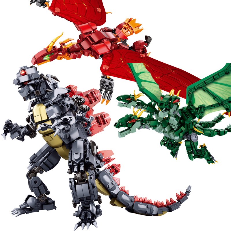 Sluban M38-B0783/B0785/B0786 King of The Monsters Godzilla Ghidorah Rodan Building Blocks 13