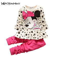 KEAIYOUHUO dots Baby Girl T-shirt + Pant Set Cartoon Spring Costume For Kids Clothes Sport Suit Toddler Children Clothing Sets