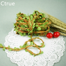 2 Meters Natural Twine String with Leaf DIY craft supplies burlap wedding decoration wedding centerpieces rustic wedding decor(China)
