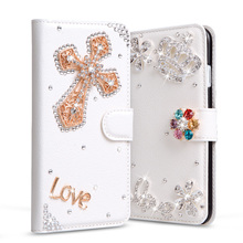 Luxury Diamond PU Leather Cover For Motorola Moto G2 XT1063 XT1068 XT1069 Phone Case Stand Flip Rhinestone Wallet Bag+Card Slot