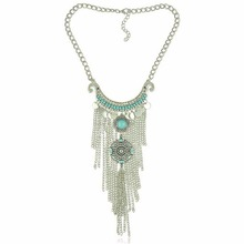 New 1PC HOT Bohemian Vintage Necklace Antique Silver Jewelry Long Tassel Necklace Statement Necklace For Women