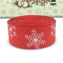 "2015 NEW wholesale 1"" printed Red snow Grosgrain ribbon handmade DIY headwear ribbon bow garment accessories LWZD2015053112(China)"