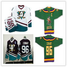 BONJEAN Mighty Ducks Movie Jersey Green 100% Stitched Sewn Throwback 96 Charlie  Conway Ice Hockey Jerseys S-XXXL Free Shipping d74b4d3cae